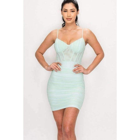 Mint Ruched Mesh Layer Strap Mini Dress - S - Dress