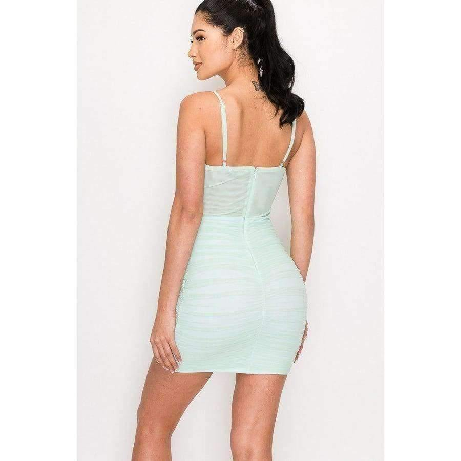 Mint Ruched Mesh Layer Strap Mini Dress - Dress
