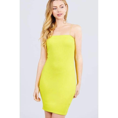 Lime Yellow Straight Neck Mini Dress - S - Dress