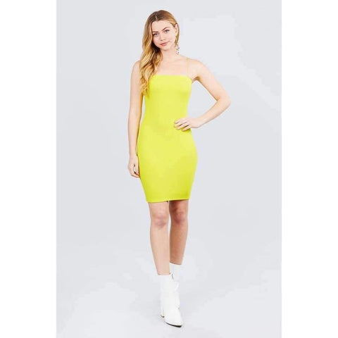 Lime Yellow Straight Neck Mini Dress - Dress