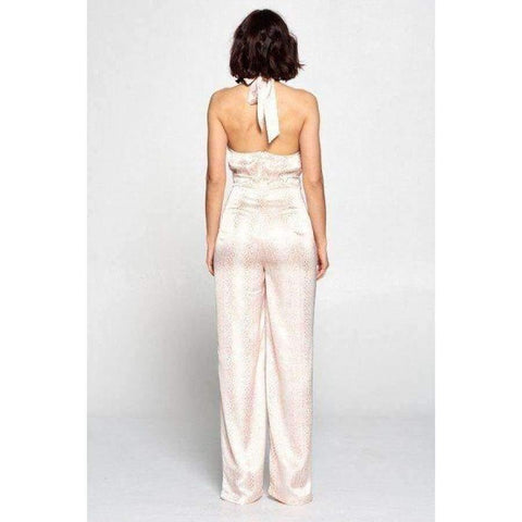 Off White & Coral Wrap Front Halter Top Jumpsuit - Jumpsuit