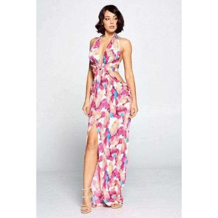 Fuchsia Cut Out Long Dress - Dress