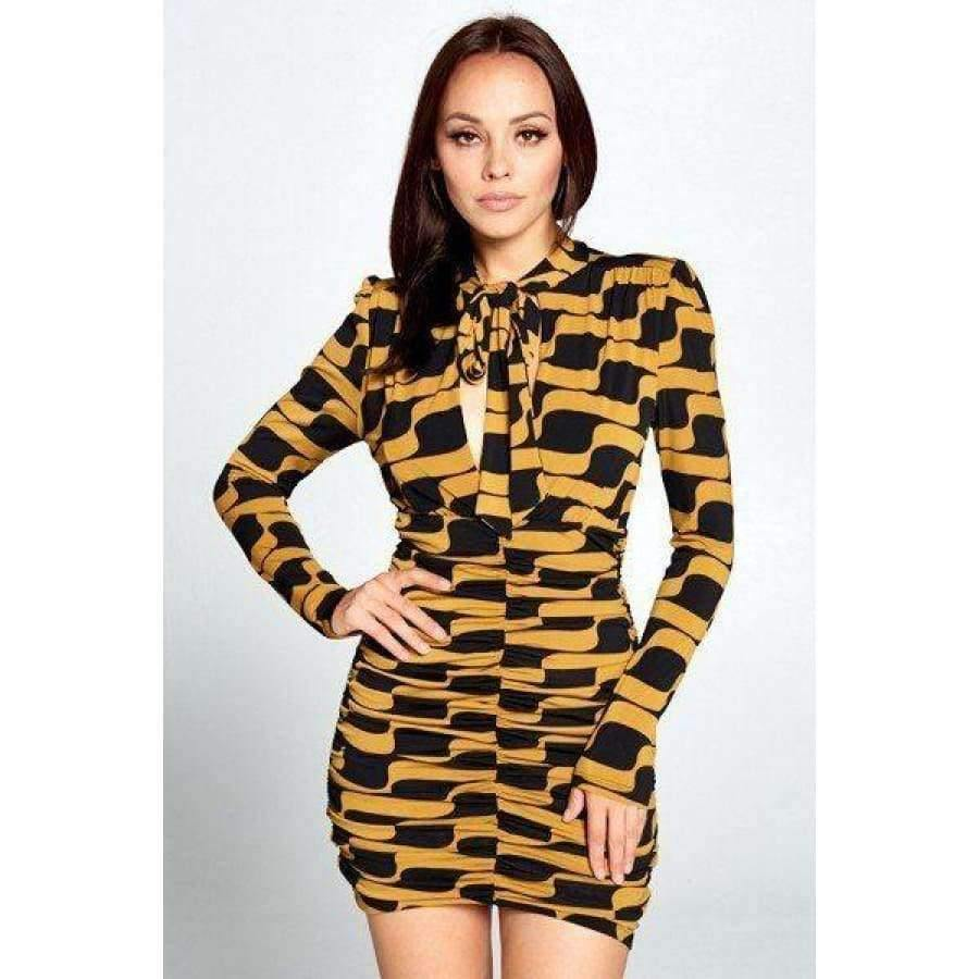 Mustard & Black Long Sleeve Mini Dress - S - Dress