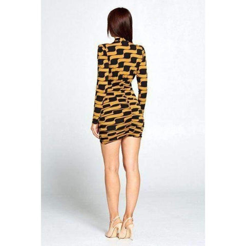 Mustard & Black Long Sleeve Mini Dress - Dress