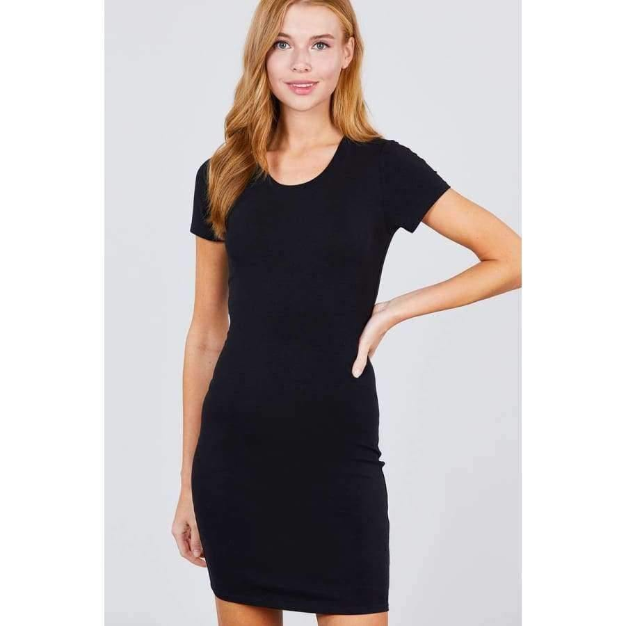 Black Short Sleeve Round Neck Knit Mini Dress - S - Dress