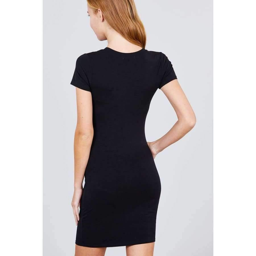 Black Short Sleeve Round Neck Knit Mini Dress - Dress