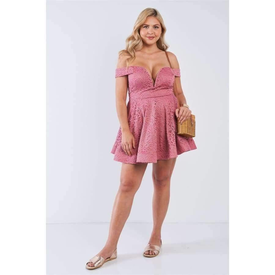 Mauve Floral Lace V-Neck Off The Shoulder Mini Flare Dress (Curvy Sizes Only) - Dress