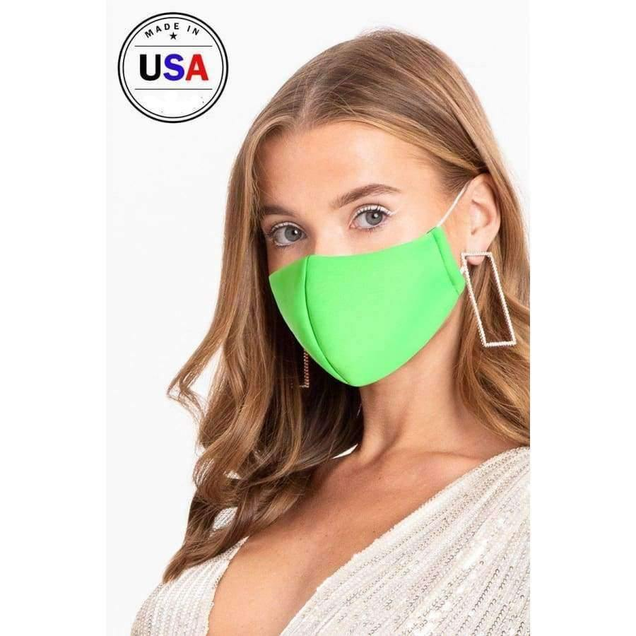 Made In Usa 3d Reusable Water Resistant Face Mask - Neon Green