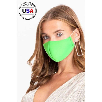 Neon Green 3d Reusable Water Resistant Face Mask - Distinctive Woman