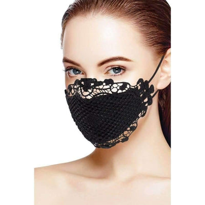 Black 3d Lace Face Mask - Black - Face Mask