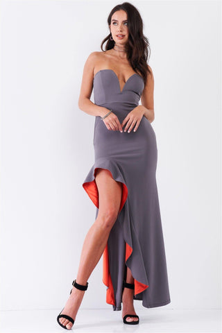 Grey Coral Plunging Neckline Ruffle Trim Front Slit Maxi Dress