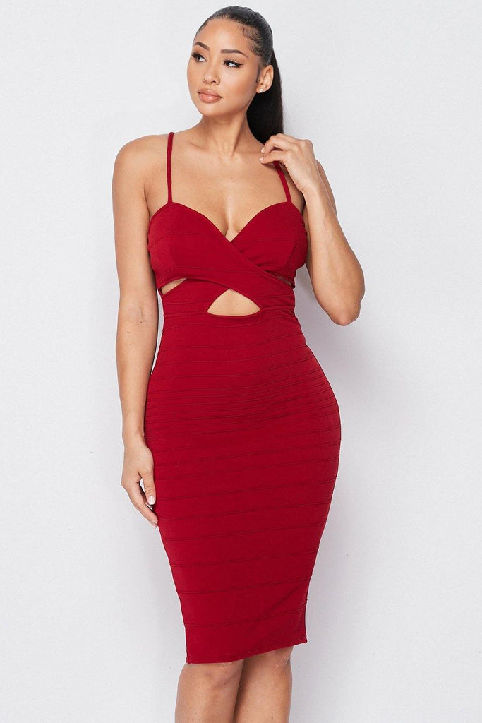 Burgundy Sweetheart Cross Crop Dress