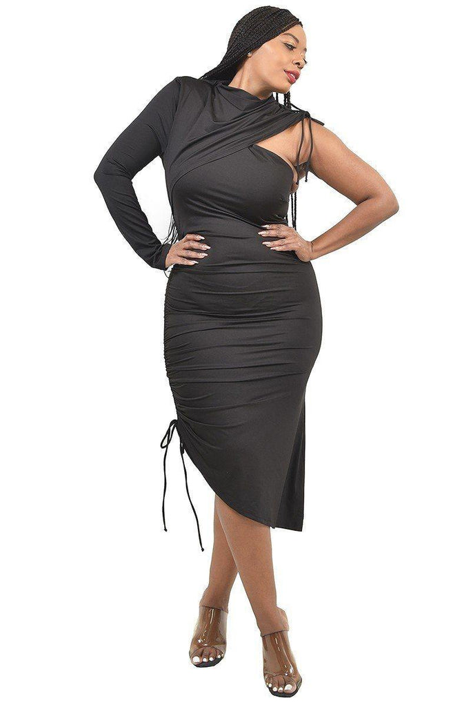 Black One Sleeve Asymmetric Dress (Curvy Sizes Only)