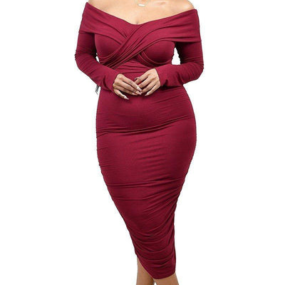 Burgundy Shoulder Cross Shoulder Band Dress (Curvy Sizes Only)