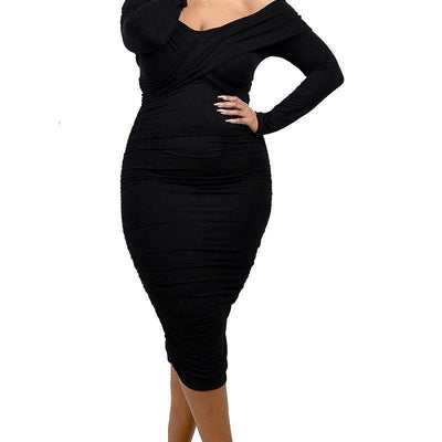 Black Shoulder Cross Shoulder Band Dress (Curvy Sizes Only)