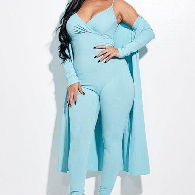 Mint Knit Spaghetti Strap Jumpsuit And Duster
