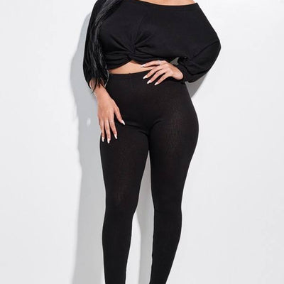 Black Knotted Front Top And Leggings
