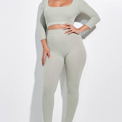 Sage 3/4 Sleeve Scoop Neck Cropped Top And Leggings