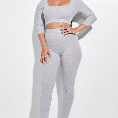 Heather Grey 3/4 Sleeve Scoop Neck Cropped Top And Leggings