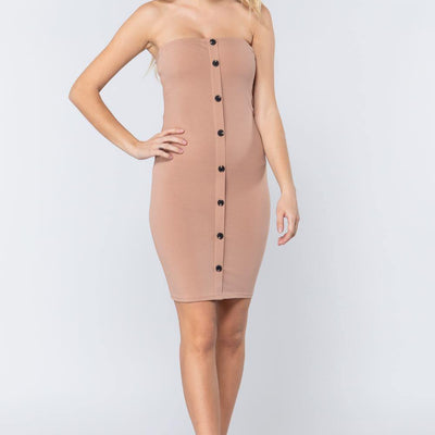 Khaki Button Down Tube Mini Dress - Distinctive Woman