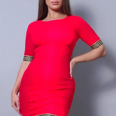 Red Sexy Basic Geo Trim Bodycon Mini Dress