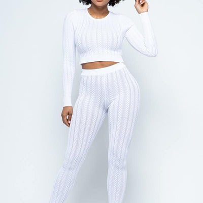 Off White Cable Knit Lounge Set