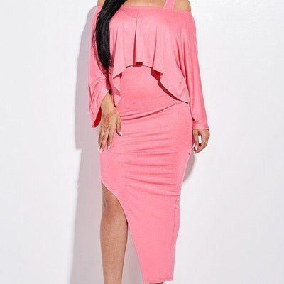 Coral Midi Length Tank Dress And Slouchy Cape Top Two Piece Set - Distinctive Woman