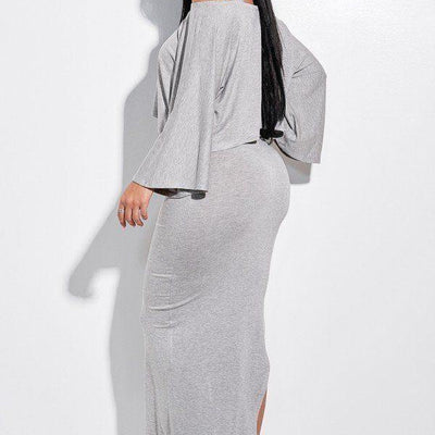 Heathern Grey Midi Length Tank Dress And Slouchy Cape Top Two Piece Set - Distinctive Woman
