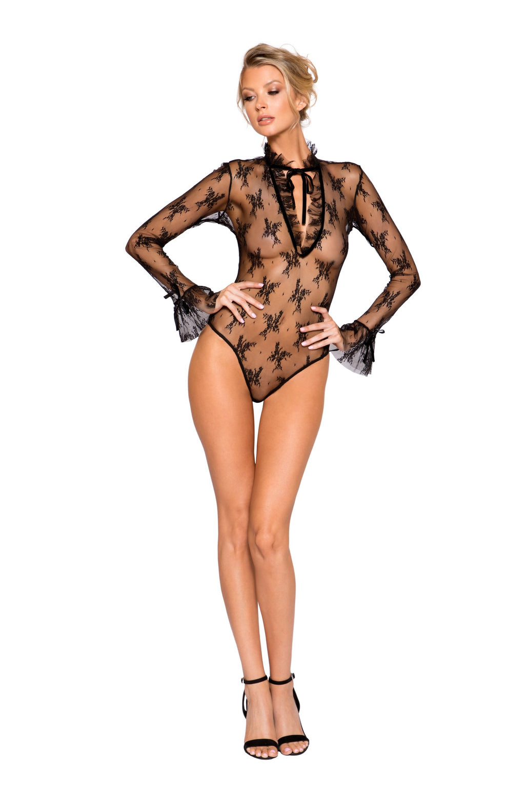 Elegant Long Sleeved Keyhole Teddy with Ruffle Detail & Snap Bottom (Curvy Sizes Available)