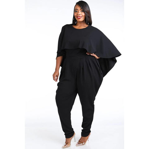 Black Cape Style Harem Jumpsuit (Curvy Sizes Only) - Jumpsuit