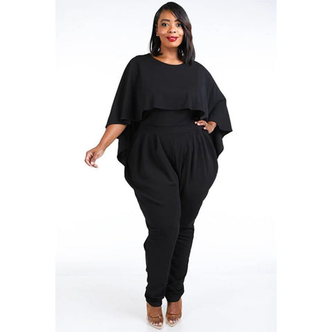 Black Cape Style Harem Jumpsuit (Curvy Sizes Only) - 1XL - Jumpsuit
