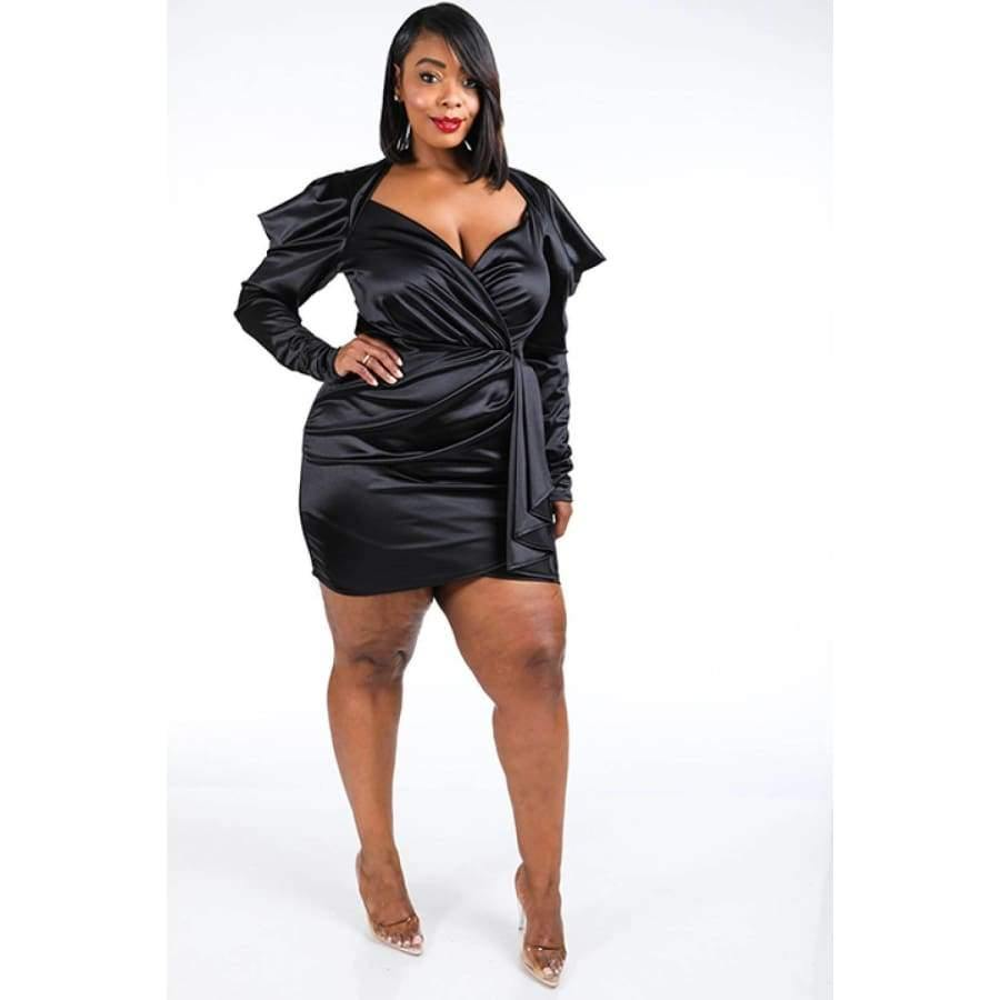 Black Casino Puff Sleeve Dress (Curvy Sizes Only) - 1XL - Dress