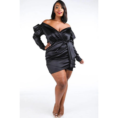 Black Casino Puff Sleeve Dress (Curvy Sizes Only) - Dress
