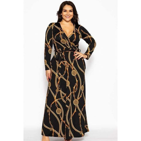Black Chain Breathable Autumn Maxi Dress (Curvy Sizes Only) - 1XL - Dress
