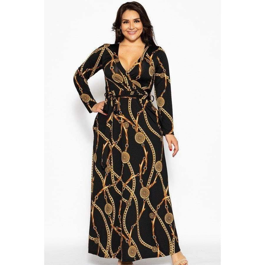 Black Chain Breathable Autumn Maxi Dress (Curvy Sizes Only) - Dress