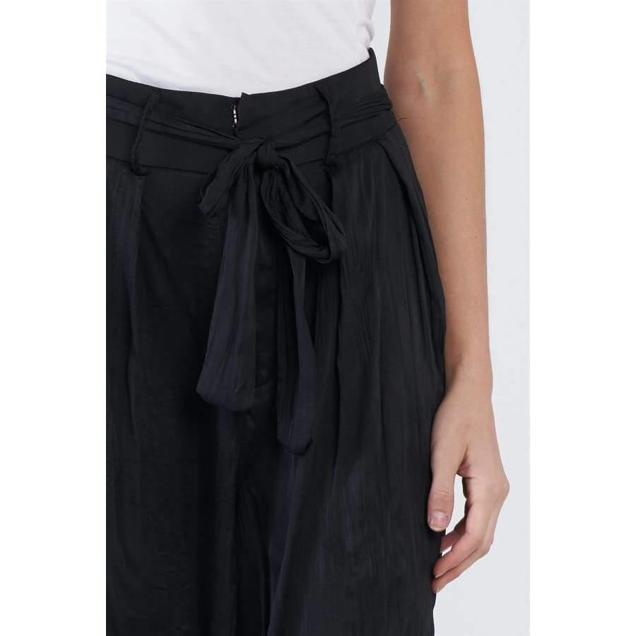Black Crushed Satin Ankle Cuff Self Tie Sash Pants - Pants