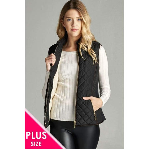 Black Faux Shearling Lined Quilted Padding Vest (Curvy Sizes Only) - XL - Jacket