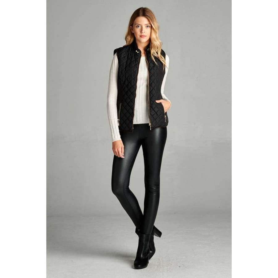 Black Faux Shearling Lined Quilted Padding Vest (Curvy Sizes Only) - Jacket