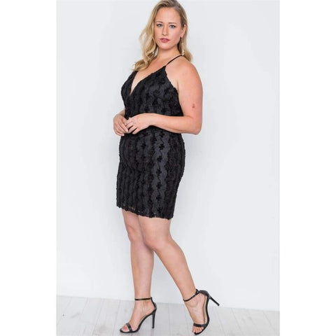 Black Floral Lace Bodycon Cami Mini Dress (Curvy Sizes Only) - Dress