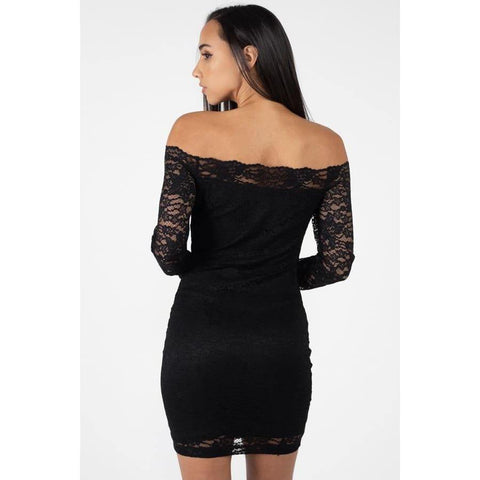 Black Floral Lace Off Shoulder Dress - Dress