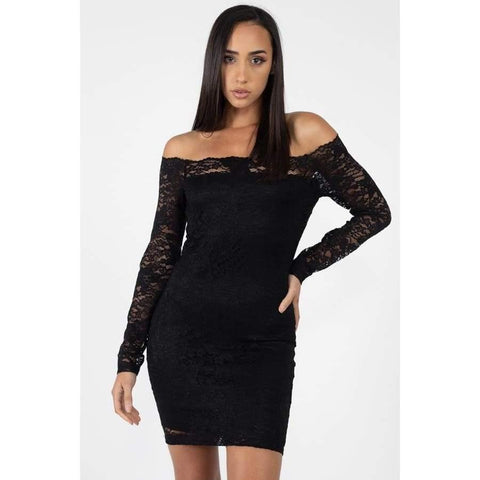 Black Floral Lace Off Shoulder Dress - S - Dress