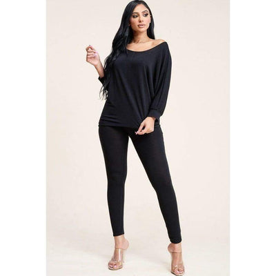 Black French Terry Slouchy Top And Pants (Two Piece Set) - S - Pants/Set