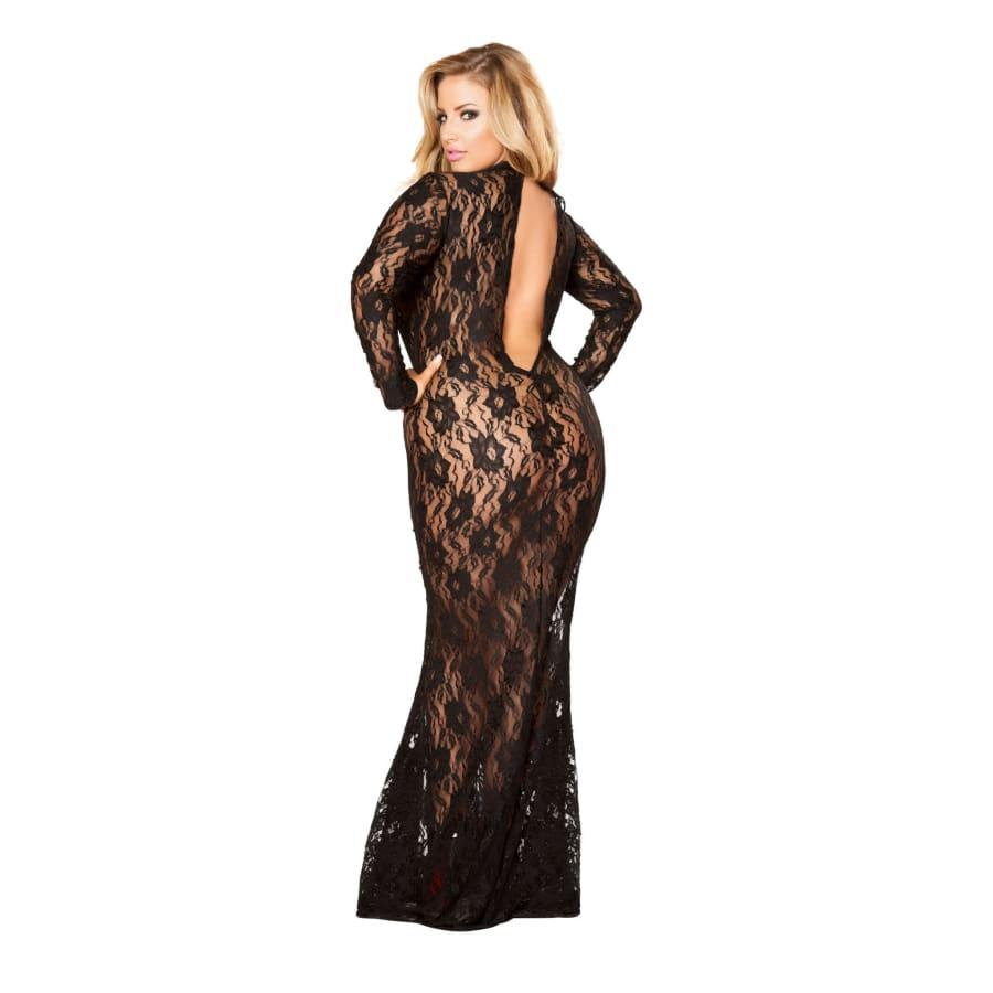 Black Lace Dress with Open Back and Hook Closure (Curvy Sizes Available) - Lingerie