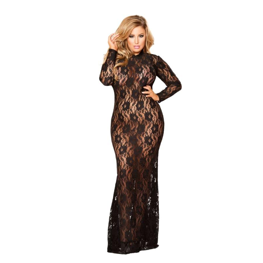 Black Lace Dress with Open Back and Hook Closure (Curvy Sizes Available) - Black / 1X/2X - Lingerie