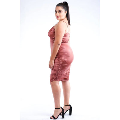 Bronze Ruched Pu Dress (Curvy Sizes Only) - Dress