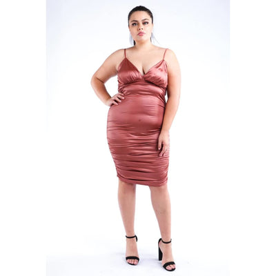Bronze Ruched Pu Dress (Curvy Sizes Only) - 1XL - Dress