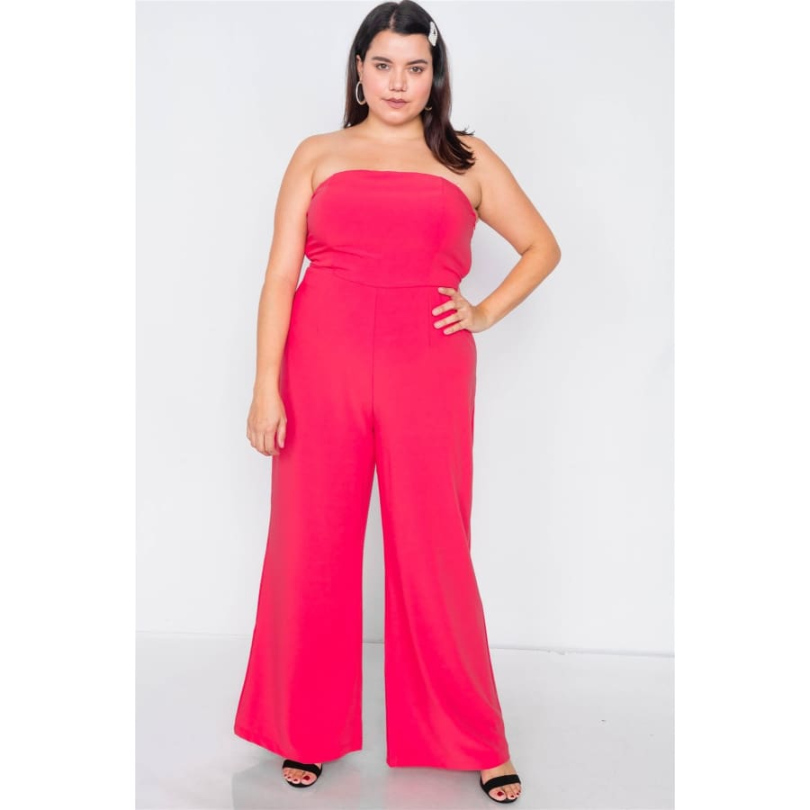 Magenta Buckle Cut-Out Sleeveless Wide Leg Jumpsuit (Curvy Sizes Only) - 1XL - Jumpsuit