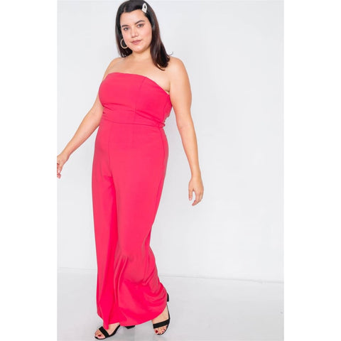 Magenta Buckle Cut-Out Sleeveless Wide Leg Jumpsuit (Curvy Sizes Only) - Jumpsuit