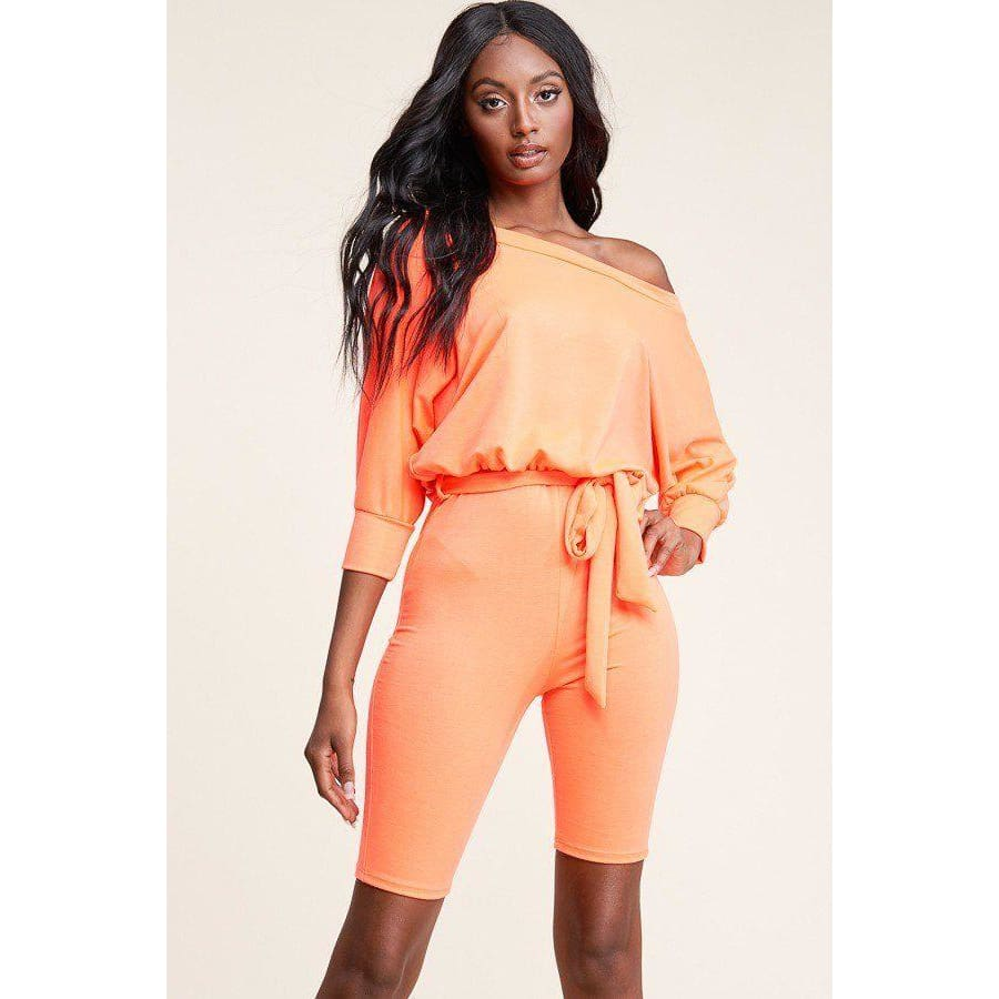 Neon Orange Slouchy Solid French Terry 3/4 Sleeve Romper (Curvy Sizes Only) - 1XL - Rompers