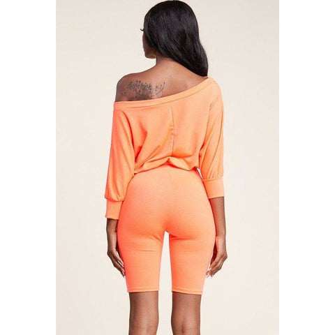 Neon Orange Slouchy Solid French Terry 3/4 Sleeve Romper (Curvy Sizes Only) - Rompers